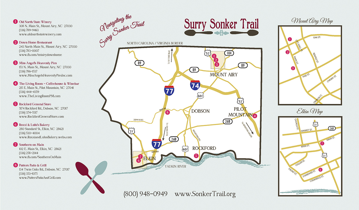 Sonker Trail Map through Surry County Yadkin Valley NC