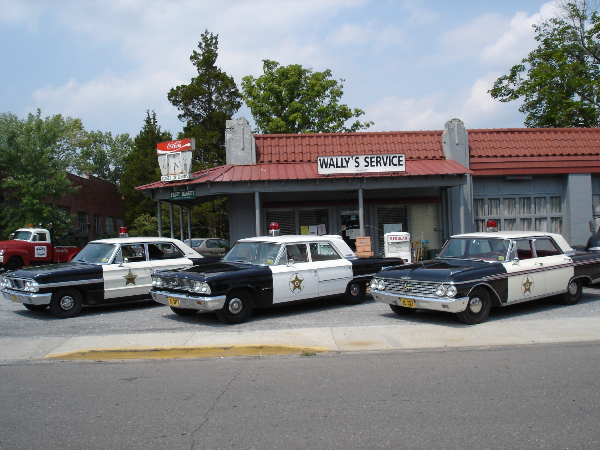 Mayberr Squad Cars at Wallys Service Station, Surry County Yadkin Valley NC